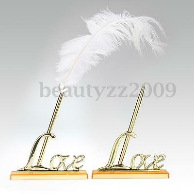 Gold Signing Pen Quill White Feather Love Sign Holder Wedding Guest Book Decor