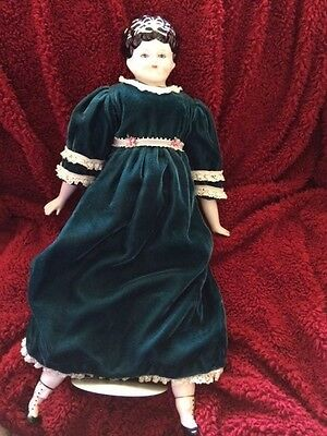 """22"""" German china shoulder head porcelain Hertwig lady doll stand reproduction"""