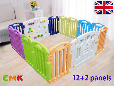 12+2 Side Plastic Foldable Baby Play Pen Mixed Colors Kids Playpen Educational