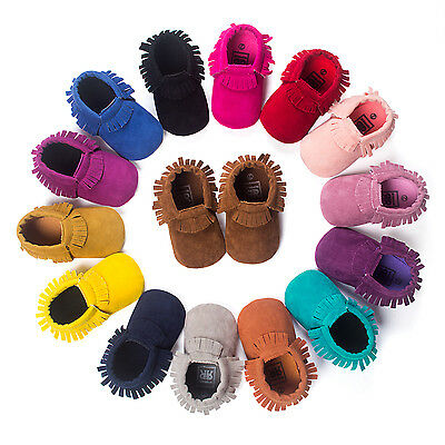 Newborn Baby Boy Crib Infant Toddler Girl Fringe Moccasins Soft Sole Shoes