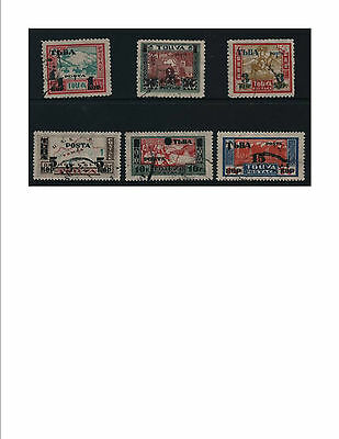 TUVA 1932 Overprints, surcharge  complete set SG #29-34 Fine Used