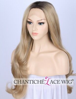 Light Blonde Synthetic Hair Full Wig Long Straight Lace Front Wigs Heat Safe UK