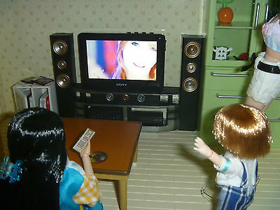 Working Diorama  Dollhouse Sterio Home theater TV 1:6 scale Sound+Movie Playable