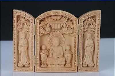 Decorated 100% Boxwood Highly Difficuly Kwan Yin statue Fonlding Box