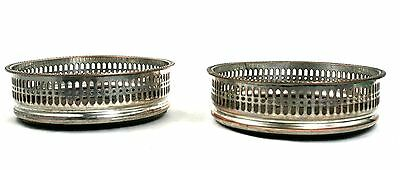 Early 20th c. Silver Plated Magnum Champagne Wine Bottle Coasters Galleried Pair