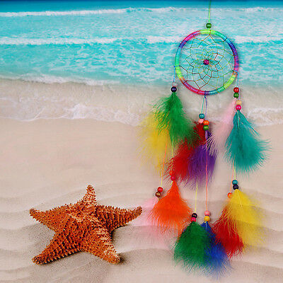 Colorfull Dream Catcher Feather Crafts Handmade Home Hanging Ornament Decor Gift