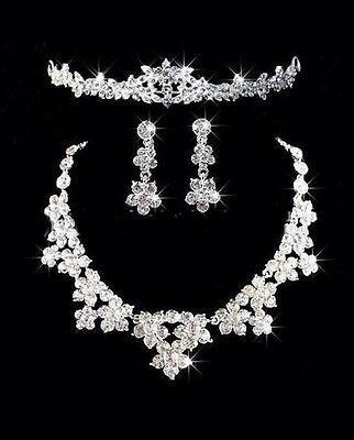New Bridal Party Rhinestone Crystal Silver Earring Necklace Tiara Jewellery Set