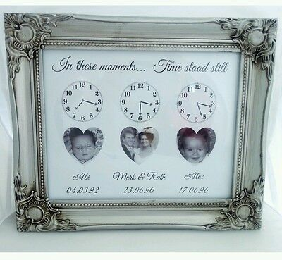 Personalised When time stood still family/wedding/birth print only unique gift.