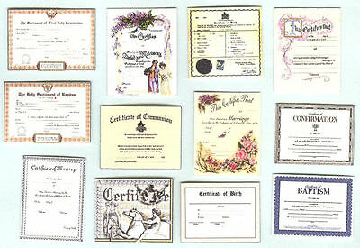 Set Of Hand-Made Dolls' House 1/12Th Scale Victorian Certificates