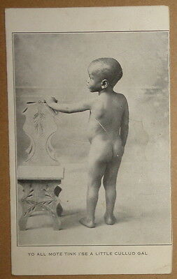AFRICAN-AMERICAN VINTAGE MAIL CARD: Yo All Mote Tink I'se A Little Cullud Gal ..