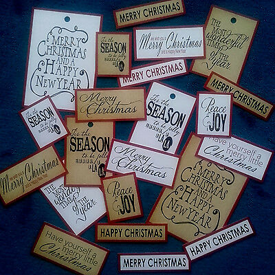 19+ Vintage Style Xmas Sentiments/Tags/Toppers - Card Making/Scrapbooking/Crafts