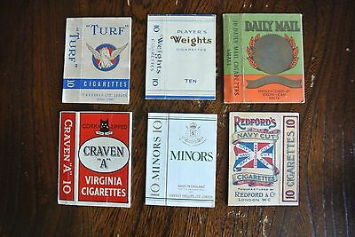 6 x Different Old Empty Cigarette Packets