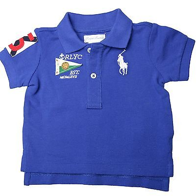 Ralph Lauren SS Flag Big PP Polo Shirt Blau Kinder Kids Original 320595112001