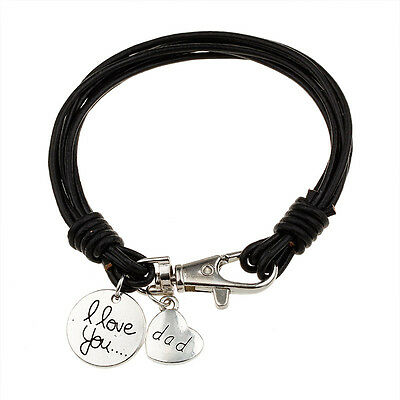 Real Leather Wristband  Bracelet 'I Love You Dad', Mens Dads Fathers Gift (M60)
