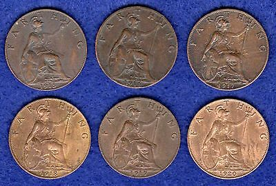 Great Britain, George V, Farthings, 1915-20, 6 Coins, Better Grade (Ref. t0248)