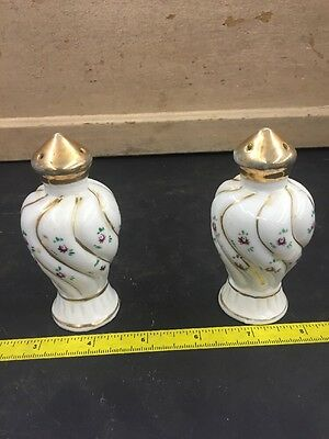 """Gold Top Salt and Pepper Shakers Purple Flowers Hand Painted 4"""""""