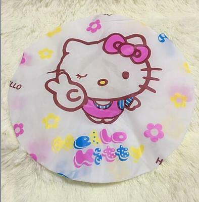 New Cute Hello Kitty Lady Girls PVC Shower Bath Cap Hat Shower Cap