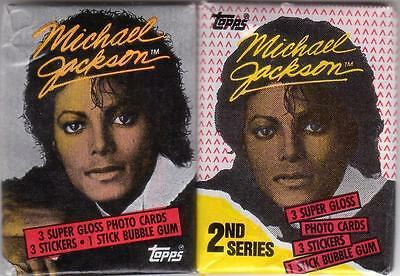 Michael Jackson Lot (2) TOPPS Gloss Photo Cards Stickers Bubble Gum Packs 1984