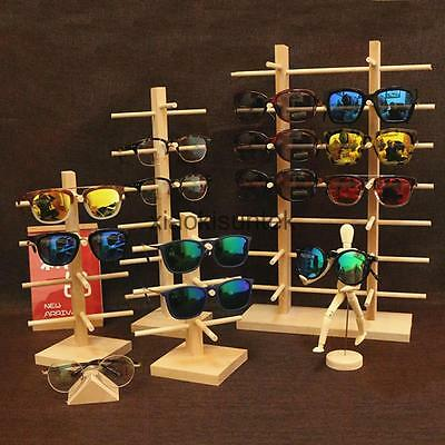 Natural Wood Wooden Sunglasses Eyeglass Display Rack Holder Organizer 4 Types