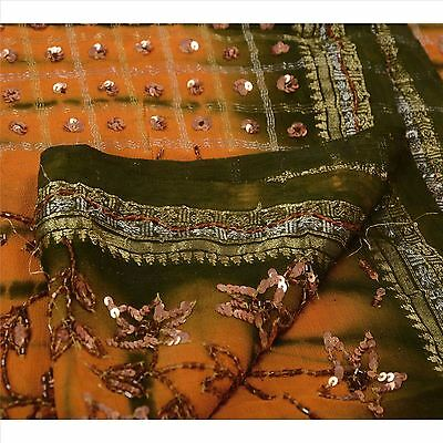 Vintage Saree Pure Cotton Hand Beaded Woven Fabric Leheria Ethnic Sequins Sari