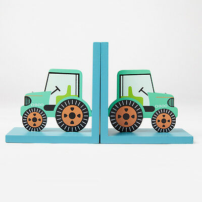 Gorgeous Wooden Green Tractor Bookends - Sass & Belle