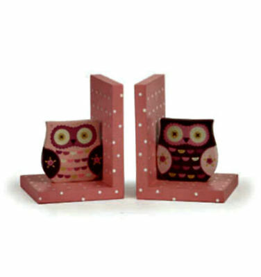 Very Cute Wise Owl Bookends Pink Wood -By Sass & Belle - Girls/childrens