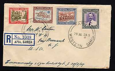 Samoa #181 to #184 FDC on registered mail to Canada.