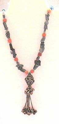 "Ancient Antique  Roman Glass Carnelian Beads Atara Necklace 21"" + Sterling"