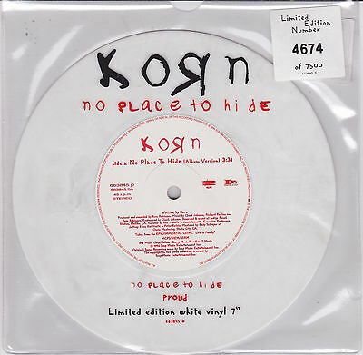 """Korn - No Place To Hide - Scarce UK/European Limited Numbered white vinyl 7"""""""