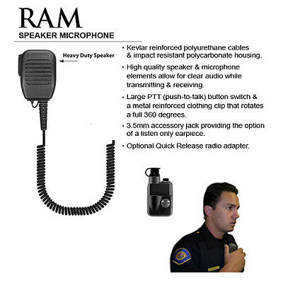Tactical Ear Gadgets RAM Quick Release Speaker Microphone for Harris Macom MRK
