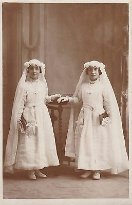 Antique RPPC - Two Young Girls In Beautiful Dresses, Communion, Twins, Sisters