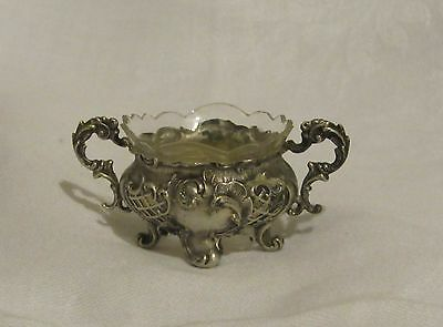 GERMANY 800 Silver Double Handled Footed Salt Cellar Frosted Glass Insert See d