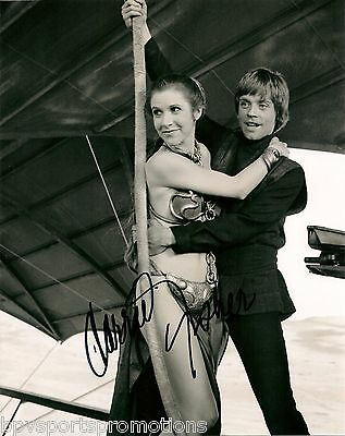 Star Wars CARRIE FISHER Signed 8x10 PRINCESS LEIA WITH LUKE SKYWALKER
