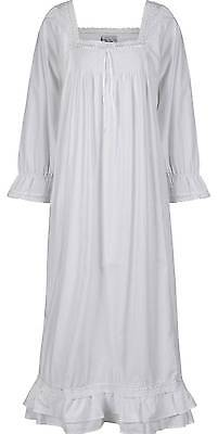 100%  Cotton Long Sleeve Victorian Vintage Nightdress - Martha - Sizes S- 4XL