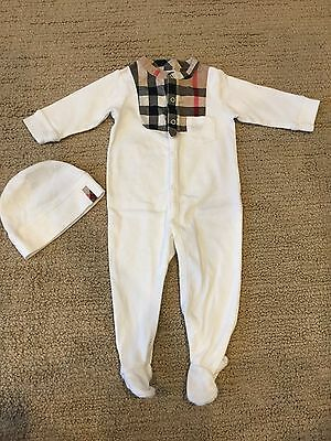 Burberry Infant Coverall with matching hat, 3M