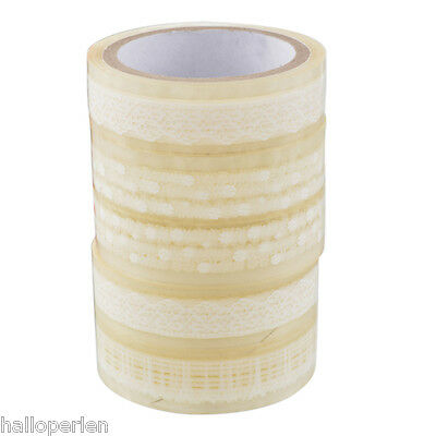5PCs 5X10M Top Random Pattern Plastic Transparent Lace Tape Glass Hone Decor