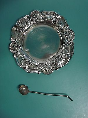 A Sterling silver pin tray Art Nouveau style Portuguese hallmarked & small spoon