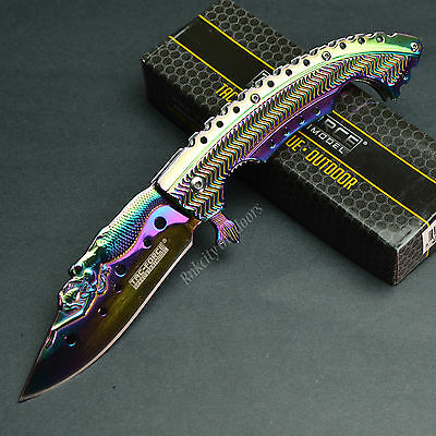 "8 5/8"" Mermaid Rainbow Finish Spring Assisted Tactical Linerlock Knife New!"