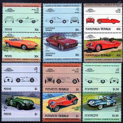 JAGUAR Collection of 12 Car Stamps (Auto 100 / Leaders of the World)