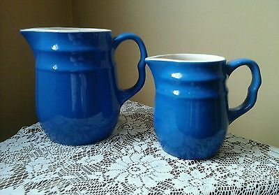 Oxford Stoneware Vintage Milk & Creamer Pitcher Set in Turquoise Blue