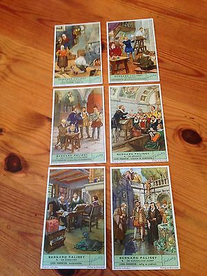 Set of 6 Liebig trading cards on French potter Bernard Palissy - in German
