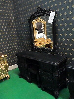 GOTHIC Matt Black Rococo Dressing Table + mirror & stool for rococo french bed