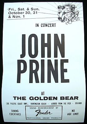 JOHN PRINE Storm Windows USA Concert Poster Mint- 1981 Golden Bear ORIGINAL!!!