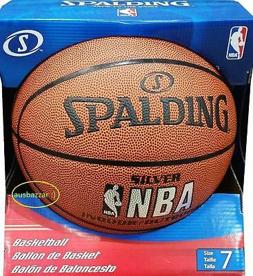 New Spalding NBA SILVER INDOOR / OUTDOOR Basketball Sports Ball Size 7 Free Post