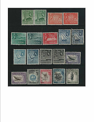 Aden1953 part set to 10/-. Colour varieties. mint & used