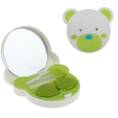 Green Contact Lens Travel Kit Case Pocket Size Bear Face Lens Container