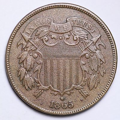 1865 Two Cent Piece CHOICE AU FREE SHIPPING E174 NT