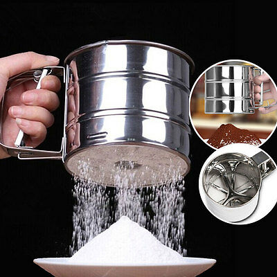 Kitchen Tool Stainless Mechanical Flour Sugar Icing Mesh Sifters Baking Shaker