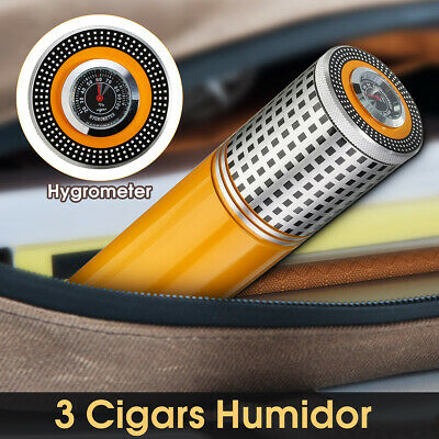 Mini Cylindrical Travel Cigar Hydrating Tube Humidor With Hygrometer For COHIBA