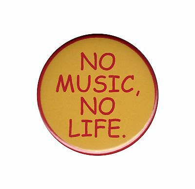 No Music No Life Pinback Button Badge Pin Rock Band Member Punk Indie Accessory